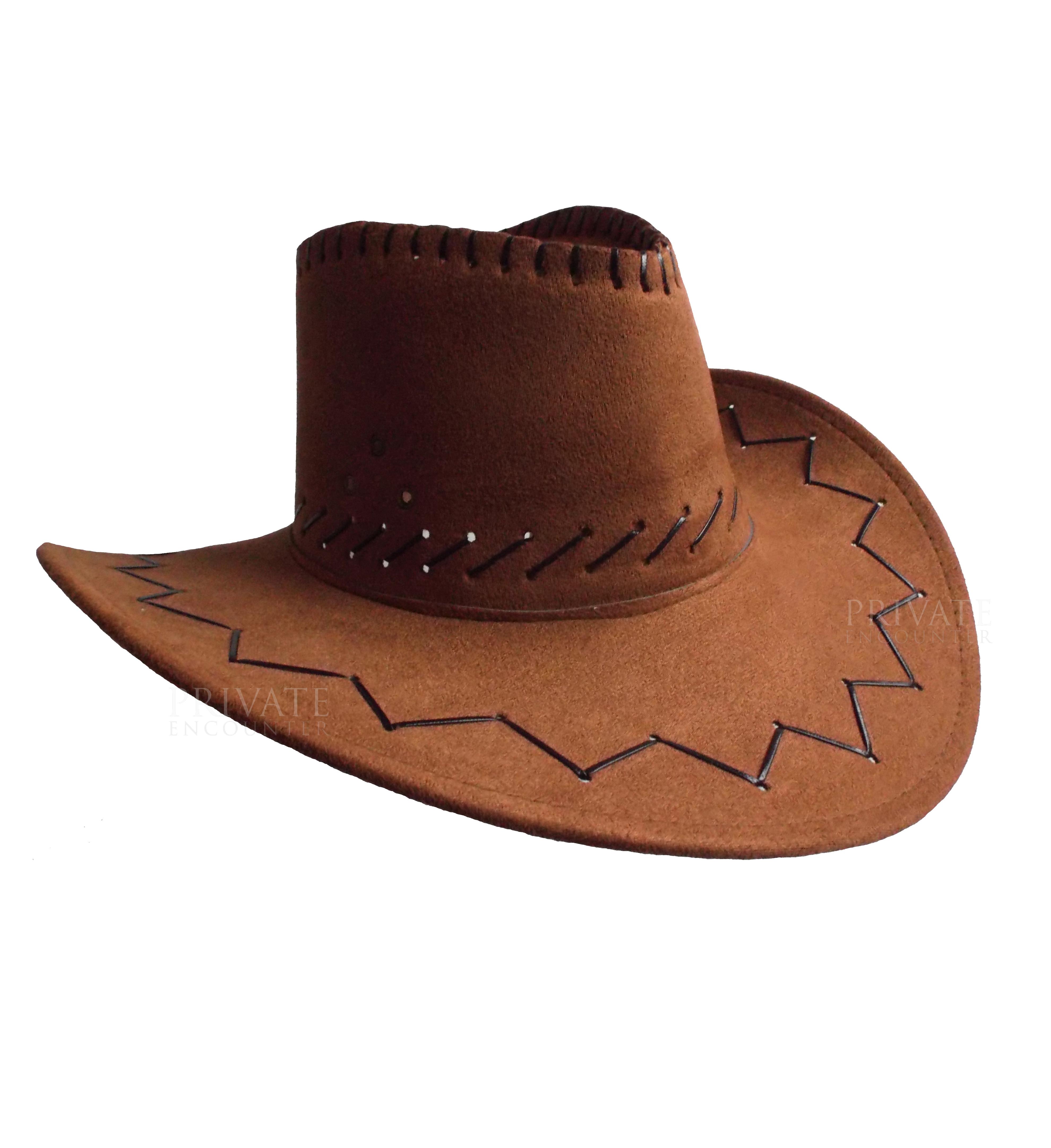3b6d9569b42 Adult Brown Suede Look Cowboy Hat